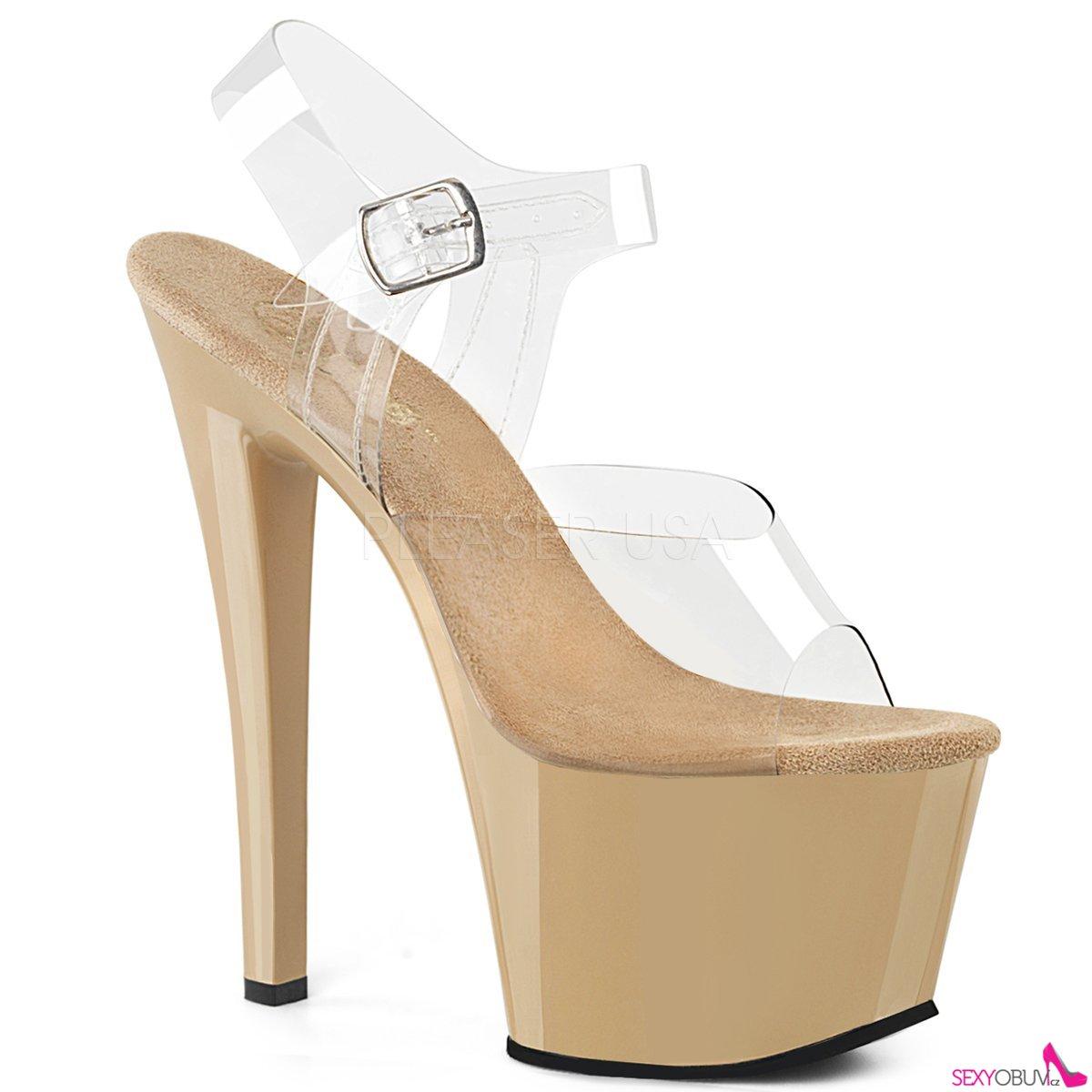 SKY-308 Krémové sexy boty na vysokém podpatku a platformě sky308 c ... 955ffd586d