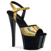 SKY-309HG Černé sexy boty se zlatými holografickými pásky sky309hg/ghg/b