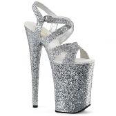 INFINITY-997LG Stříbrné sandály na extra vysokém podpatku