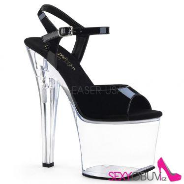 RADIANT-709 Černo průhledné sexy sandály rad709/b/c
