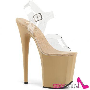 FLAMINGO-808 Krémové sandály na extra vysokém podpatku flam808/c/cr