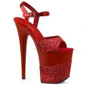 FLAMINGO-809-2G Červené sandály na extra podpatku flam809-2g/rg/m