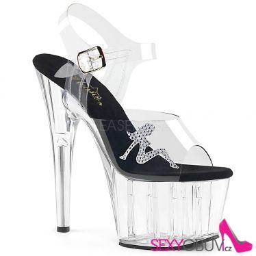 ADORE-708RSTG Průhledné taneční boty na podpatku ado708rstg/c-b/c
