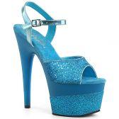 ADORE-709-2G Modré sexy boty ado709-2g/aqg/m s třpytkami na vysokém podpatku a s platformou