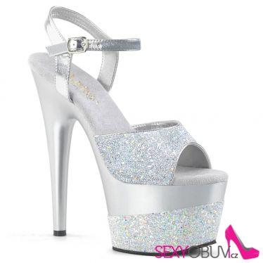 ADORE-709-2G Stříbrné sexy boty s třpytkami ado709-2g/sg/m na vysokém podpatku a na platformě