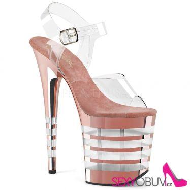 FLAMINGO-808CHLN Flam808chln/c/rogdch růžové sexy boty na extra vysokém podpatku a platformě