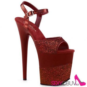FLAMINGO-809-2G Červené taneční boty na extra vysokém podpatku flam809-2g/ryrg/m