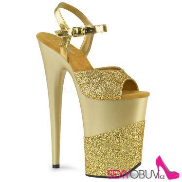 INFINITY-909-2G Zlaté sexy boty na extrémním podpatku a platformě inf909-2g/gg/m