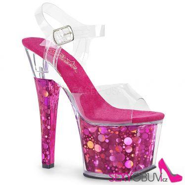 RADIANT-708BHG Tmavě růžové sandály na vysokém podpatku rad708bhg/c/fs s bublinovými hologramy