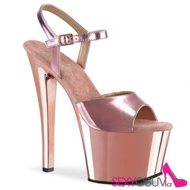SKY-309 Růžové lesklé sexy boty sky309/rogldpu/m